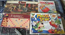 Land of Misfit games: Clue, Monopoly Jr, Scrabble, Mousetrap- missing pieces