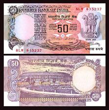 INDIA 50 RUPEES 1978 UNC CONSECUTIVE 2 PCS PAIR P.84i Sign 87 LETTER B