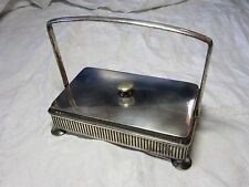 Vintage SILVER PLATED Covered SARDINE DISH With GLASS Decorative INSERT