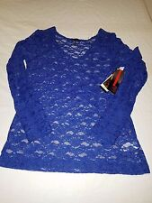 Sofia Vergara Blue Lacey Women's Top Size Medium--NWT