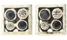 £20 Art Deco Celtic Silver Black Square Stud Earrings Swarovski Elements Crystal