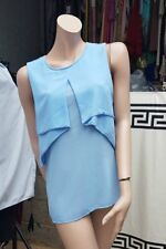 BNWT  Light Blue Layered Sheer Silky Blouse Vest top ladies Size L Made In Italy