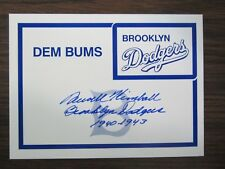 Newt Kimball Autograph / signed Brooklyn Dodgers 5-1/2 x 4 card