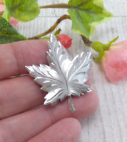 Vintage Sterling Silver Maple Leaf Brooch Signed Coro Corocraft
