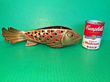 Nos 1966 Heavy Large Bronze Koi Fish Candle Holder Terra Sancta Guild Israel