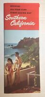 Vintage Foldout Official All-Year Club Sight-Seeing Map Southern California 1957