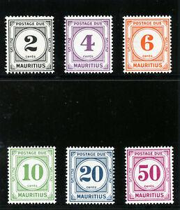 Mauritius 1966 QEII Postage Due set complete superb MNH. SG D8-D13. Sc J8-J13.