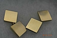 Tiffany & Co Cufflinks Rare 14K Gold Square Ribbed Box & Pouch
