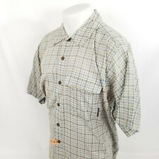 VTG Ex Officio Mens Button Front Shirt Medium S/S Plaid Check Blue Thin A51-10