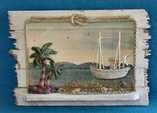 "SEASCAPE WOODEN SHADOW BOX w/ SMALL SHELF FISHING BOAT & PALM TREES 11""x 8"" HP"