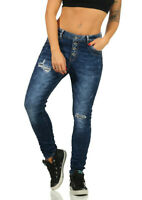 Jewelly Damen Baggy Boyfriend Jeans Hüftjeans Crash-Look Jeanshose Knöpfe