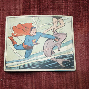 """1940 Superman Gum Trading Card #24  """"Attacked By Sharks"""" FAIR Condition (kf)"""