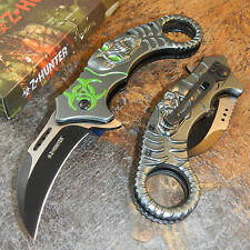 ZOMBIE HUNTER Skeleton Skull Spring Assisted Opening Karambit Knife Gray