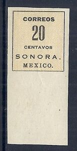 1914 Mexico 409a Sonora, 20 Centavos, Without Coach Seal Error, Mint NGAI