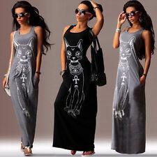 Damen Ärmellos BOHO Lang Maxikleid Abendkleider Strandkleid Sommerkleid Gr.36-44