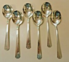 New Listing6 Lot Cream Round Bouillon Spoon Deauville Community Silver Plate Art Deco 1929