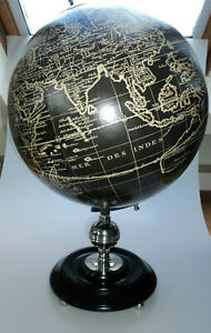 Authentic Models Large Vaugondy French Vintage Globe In Black And Chrome New