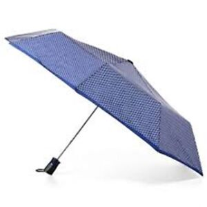 NWT Totes Auto Open Folding Umbrella with NeverWet® and SunGuard® Navy Pindot