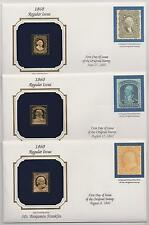 US 1860 Regular Issue 3 Covers 22k Gold Replica Stamps and Reproductions |