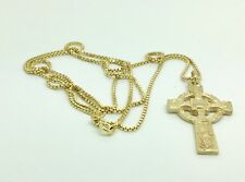 """9ct Gold solid Celtic Cross & 24"""" chain"""