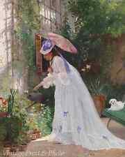 Victorian Woman Dog Garden - Art Loving Flower Care  V G Gilbert 8x10 Print 0272