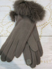 Gloves ⛄ Genuine Fur Trim Tan Smart Tip Touch Screen Compatible NWT G4