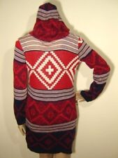 SAY WHAT Womens XS Small Oversize Red Southwest Aztec Print Long Hoodie Cardigan