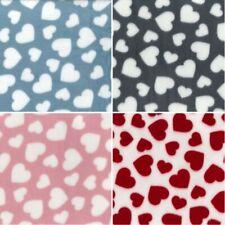 Polar Anti Pil Fleece Fabric Valentines Hearts Love Romance Blanket