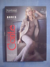 Conte Fantasy Doris Spiral Pattern Pantyhose Size 2 in Gray