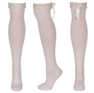 Ladies Girls Cream Lace Over The Knee Dress Up Women Socks Size 4 - 8