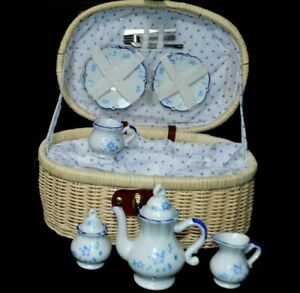 Delton Products Children's Tea Set with Basket and polka dot checked lining.