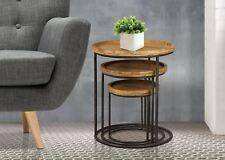 Birlea Bergen Nest of 3 Tables Solid Fir Wood Circular Metal Legs - H64