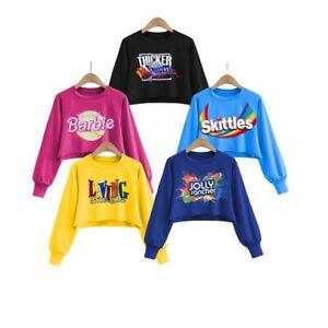 new arrival printing cartoon pattern crop top sweatshirt sweaters women