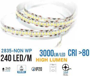 Striscia 1200LED SMD2835 strip 5M Alta luminosita 15000 lumen 90w 12v 240 led/mt