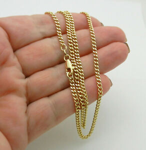 """Solid 18k Yellow Gold Curb Cuban Style Chain Necklace 18"""" long 10.8 grams"""