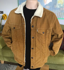 "🇺🇸 LEVIS Tan Brown Sherpa Trucker Jacket (S)36""-38"" ⭐️Lovely Colour⭐️"