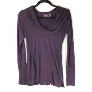 Zella Womens Hooded Pullover Top Purple Slub Knit Long Sleeve Cowl Neck Ruched S