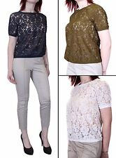 Womens EX FAMOUS STORES Short Sleeve Lace Tops Shirt Blouse Size 6-18.