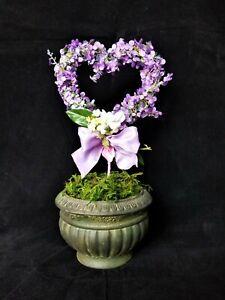 💟 ❤️ SALE Valentines Day Decor ~ Floral Heart Pick Spray Topiary Wreath Purple
