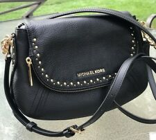Michael Kors Aria Gold Studded Convertible Black Leather Shoulder Bag Crossbody