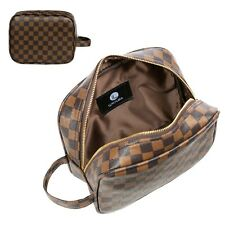 LUXOURIA Checkered Makeup Bag Travel Luxury Cosmetics Bag Leather Toiletry Pouch