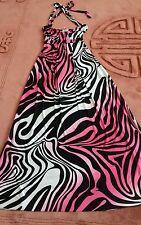 Pink Mix Long Stretch Halterneck Sun Dress Size S/M