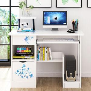 PC Computer Desk Corner Wooden Desktop Table With Drawer Cabinet Storage White