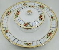 Vintage Hand Painted Nippon Serving Plate With Bowl Chips and Dip
