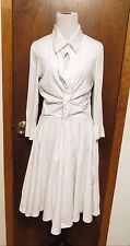 Celine White Cotton long sleeve braided gathered sheath dresS sz 38