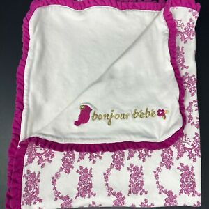 Gymboree Bonjour Bebe Baby Blanket Pink Deer Floral Toile Cotton Ruffle Trim