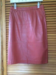 Cerrutti 1881 beautiful vintage tan leather skirt Size 12