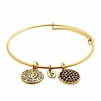 Chrysalis Expandable Bangle Bracelet with Garnet Swarovski Crystals in 14K Gold