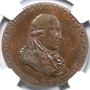 1795 NGC MS 63 BN LG Buttons Washington Grate Half Penny Colonial Copper Coin