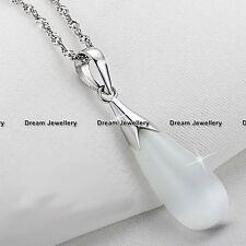 White Moonstone Opal Teardrop Necklace Gifts for Her Girlfriend Mum Gradma Wife
